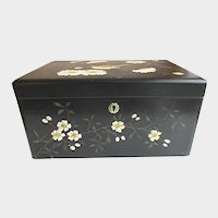 Antique Sewing Box with Hand Painted Bird and Flowers