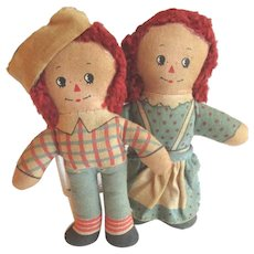 Hand Made Miniature Raggedy Ann and Raggedy Andy Vintage