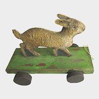 Vintage Metal Rabbit Pull Toy