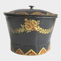 Antique Tole Painted Tin Sugar Bowl with Original Hand Painted Toleware Decoration