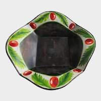 Antique Folk Art Hand Painted Toleware Bowl