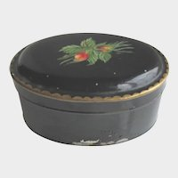 Antique Hand Painted Rosebud Toleware Tin with Lid