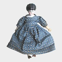 Antique German China Head Victorian Doll with Molded Hair