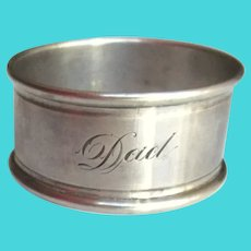 Antique Sterling Napkin Ring, Monogrammed Dad Napkin Holder Birmingham 1923