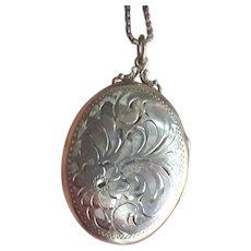 Large Sterling Locket, Etched Oval Floral Photo Locket, Vintage Necklace