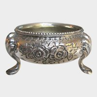 Antique Silver Repousse Open Salt, Martin Hall and Co. Silver Plate Footed Salter, Monogram H Silver Open Salt