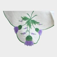 Linen Scottish Tablecloth Napkins a Placemat and a Centerpiece with Hand Embroidered Thistles, Vintage Tablecloth with Thistles All Over