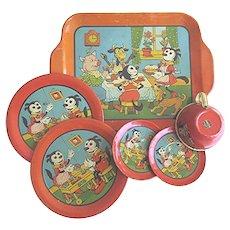 Krazy Kat Tea Set, Vintage J. Chien & Co. Toy Tin Litho Krazy Kat Set