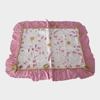 Pillow Cover Pink Taffeta with Cutwork Linen, Vintage Pillow Sham Hand Embroidered Sunflowers