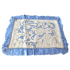 Pillow Cover Blue Taffeta with Cutwork Linen, Vintage Pillow Sham Hand Embroidered Flowers