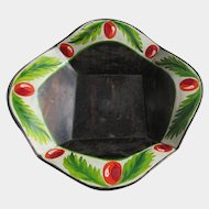 Antique Christmas Folk Art Hand Painted Toleware Bowl