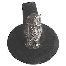 Vintage Marcasite & Sterling Owl Brooch