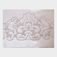 Antique Hand Embroidered Appenzel Angel Linen Towel, Cupid Putti Linen Towel