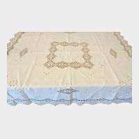 Antique Linen Tablecloth with Hand Made Lace