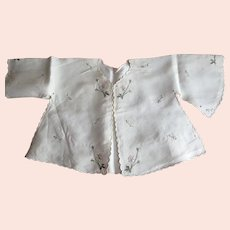 Antique Hand Made Silk Baby Jacket, Hand Embroidered Roses