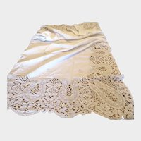 Antique Hand Made Lace Tablecloth, Linen Tablecloth with Wide 10.5 Inch Bobbin Lace Border