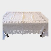 Victorian Lace Tablecloth, Antique Hand Made Lace Border