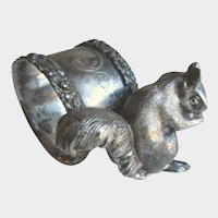 Victorian Silver Plate Squirrel Napkin Holder, Antique Repousse Napkin Ring c1880