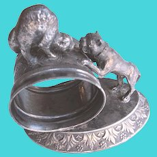 Antique Meriden Silver Plate Dog and Cat Napkin Ring, Victorian Silverplate Figural Napkin Ring