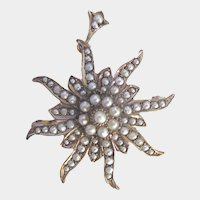 Antique 9K Gold Starburst Seed Pearl Brooch Pendant