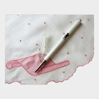 Sterling Guilloche Enamel Pencil with Angel, Antique Retractable Sterling Pencil with Putti