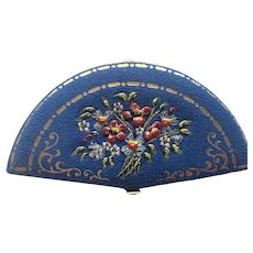 Rare Art Deco Blue Fan Faux Suede Compact With Swans Down Puff, Fan Shaped Compact With Hand Painted Flowers