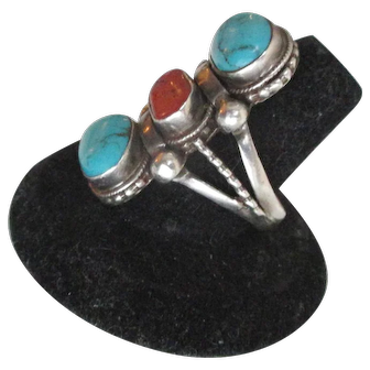 Vintage Sterling Large Turquoise Coral Ring Size 10