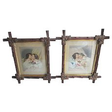 Antique Children with Dolls Lithograph Prints in Hand Carved Walnut Frames