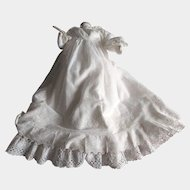 Antique Victorian Lace Christening Gown and Under Slip with Hand Done Embroidery and Pintucks