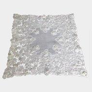 Antique Lace Wedding Handkerchief Hand Made Deep Lace Border