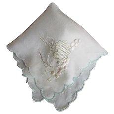 Antique Silk Wedding Bridal Handkerchief Hankie