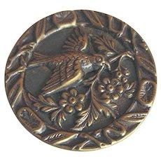 Large Antique Victorian Metal Picture Button Bird