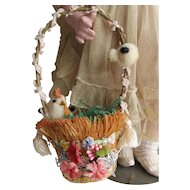 Vintage Doll Size Easter Basket with Spun Cotton Batting Hen and Chick