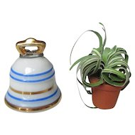 Vintage Miniature Limoges Bell And Plant in Clay Pot