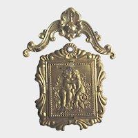 Antique Miniature Gold Ormolu Dollhouse Pictures of Children Kissing