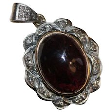 Vintage Tourmaline Diamond 18K Pendant Cabochon Cut
