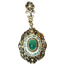 Lovely Vintage Enameled Pendant with Green Stone