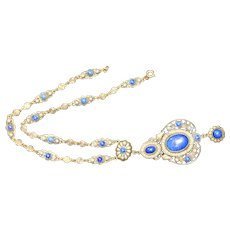 Ornate Brass and Lapis Glass Vintage Necklace