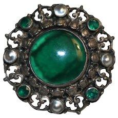 Vintage Green Stone Pin Brooch 800 Silver
