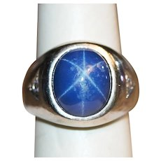 Vintage Synthetic Blue Star Sapphire Ring in 10K White Gold