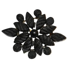 Victorian Mourning Brooch Pin Pine Cone Shape C-Clasp