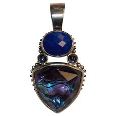 Stephen Dweck Sterling Enhancer Pendant Lapis and Shell