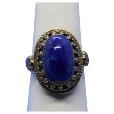 Vintage Blue Lapis and Brass Ornate Ring