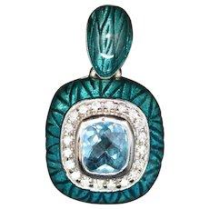 Gorgeous Vintage Blue Enamel Blue Topaz and Diamond 18K Pendant