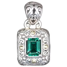 Samuel B BJC Sterling Silver and 18k Pendant with Green Stone