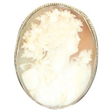 Beautiful Vintage Detailed Shell Cameo 14k White Gold Setting