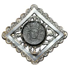 Victorian Mourning Pin with Carved Black Glass