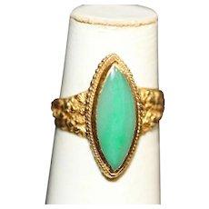 24K Vintage Jade Ring with Flowers