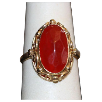 Vintage Carnelian and 14k Yellow Gold Ring