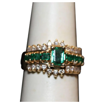 Vintage Synthetic Emerald and Diamond Ring 14K YG